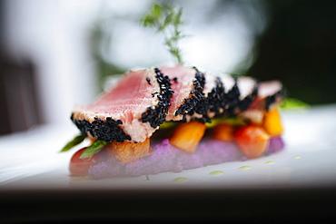 Close up of sesame crusted tuna on a plate, Vietnam