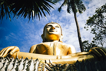 Low angle close up of large golden Buddha at a temple, Thailand