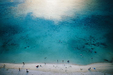 High angle view of crystal clear waters and white sandy beach, Guam