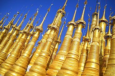 Golden stupas of Buddhist temple Shwe Inn Thein Paya, Lake Inle, Myanmar, Lake Inle, Myanmar