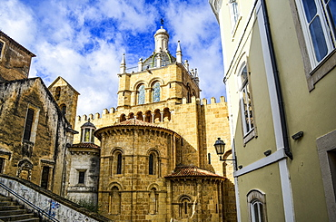 Exterior view of the old Romanesque cathedral, Coimbra, Portugal, Coimbra, Portugal