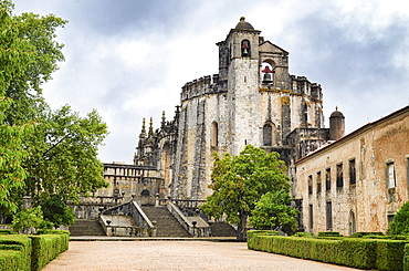 Exterior view of the medieval main church of the Convent of Tomar constructed by the Knights Templar, Tomar, Portugal, Tomar, Portugal