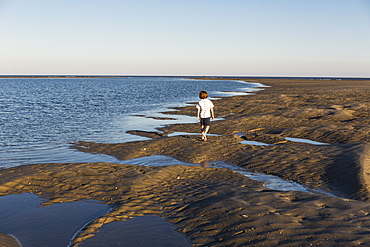 A six year old boy investigating sandy landscape, St Simon's Island, Georgia, United States