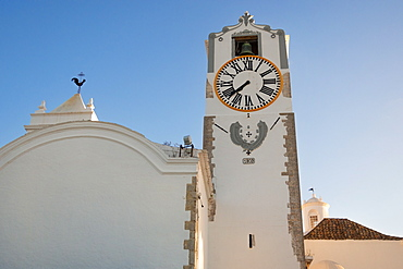 Clock Tower, St Maria of the Castle Church, Tavira, Eastern Algarve, Algarve, Portugal,