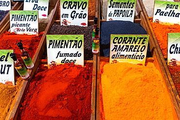 Spices in bulk market in the Algarve, Portugal
