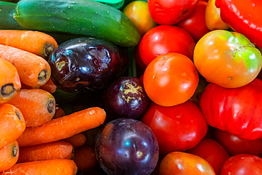 Selection of vegetables on market stall in the Algarve, Portugal