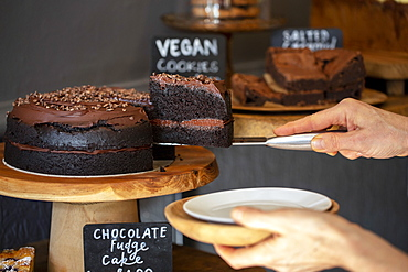 Close up of waitress putting slice of chocolate fudge cake on a plate door of a cafe