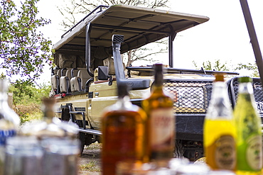 Safari vehicle parked, picnic table laid with bottles and food
