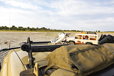 toys on safari vehicle, Botswana