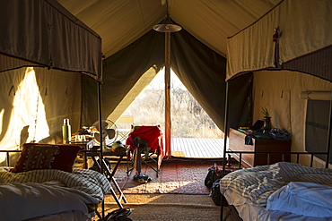 A bedroom in a tented camp, Kalahari Desert