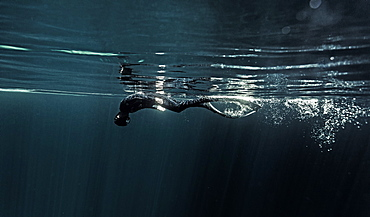 Underwater view of diver wearing wetsuit and flippers diving just below the water surface, United States of America
