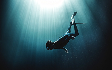 Underwater view of diver wearing wet suit and flippers, sunlight filtering through from above, United States of America