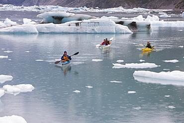 Sea kayakers paddling in glacial lagoon at a glacier terminus on the coast of Alaska