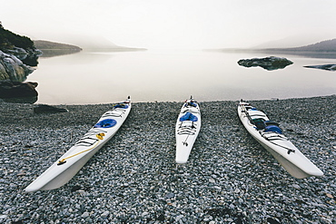 Three sea kayaks pulled up into shoreline of secluded cove in Muir Inlet overcast sky in distance, Glacier Bay National Park, Alaska