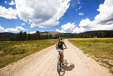 adult woman on mountain bike, New Mexico, United States