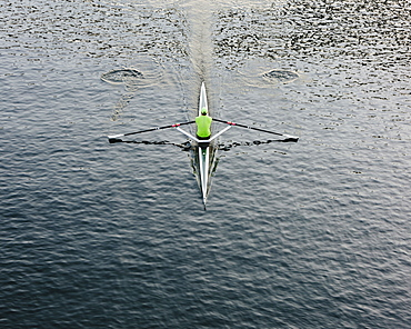 A single scull boat and rower on the water, view from above, Washington, United States