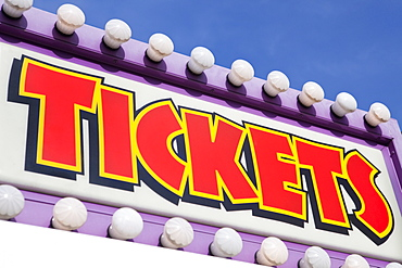 Ticket Booth Sign At Traveling Carnival, Tigard, Oregon, United States