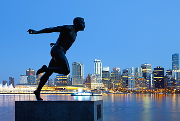 Running Sculpture With a Downtown Background, Vancouver, British Columbia, Canada