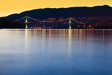 Illuminated Bridge Across a Bay, Vancouver, British Columbia, Canada