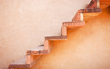 Steps on an Exterior Wall, Agra, Uttar Pradesh, India