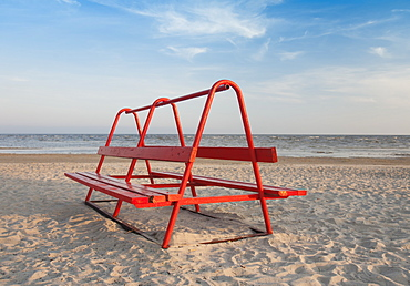 Red Park Bench on the Beach, Estonia