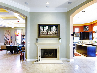 Luxury Home Fireplace and Hallway, St Petersburg, Florida, United States