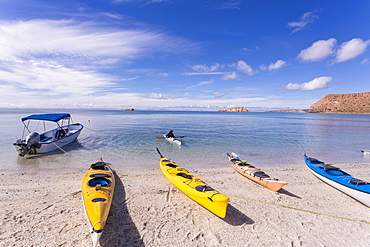 colorful kayaks, Isla Espiritu,Sea of Cortes, also known as the Gulf of California, Mexico