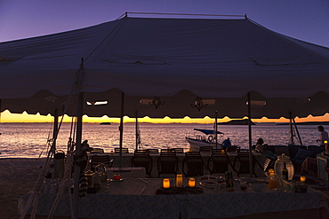 Dinner tent, Isla Espiritu, Sea of Cortes, also known as the Gulf of California, Mexico