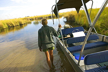 Rear view of woman wading in water, pushing boat, Okavango Delta, Botswana