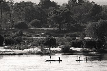 Locals going down the Zambezi River in traditional mokoro canoes, Zambia