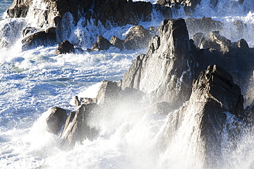 View of the rocky coast near De Kelders, South Africa