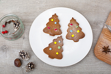 High angle close up of Christmas decorations and Christmas Tree cookies on a white plate