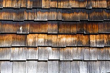 Close up of wooden shingles on the side of a building, United States of America