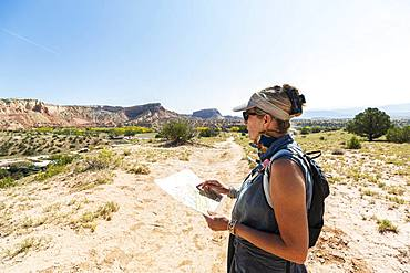 adult woman hiker, Ghost Ranch, New Mexico, United States of America