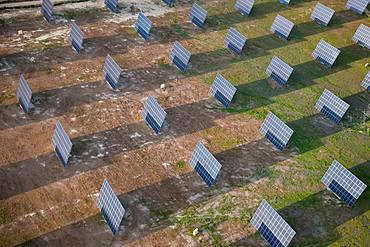 Aerial view of solar panels on a field, Huelva Province, Spain, Huelva Province, Spain