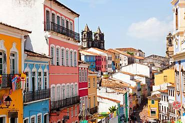 Colourful houses in Pelourinho, Salvador, Bahia, Brazil, Bahia, Brazil