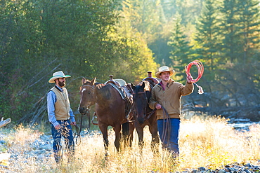 Cowboys and horses, British Colombia, Canada