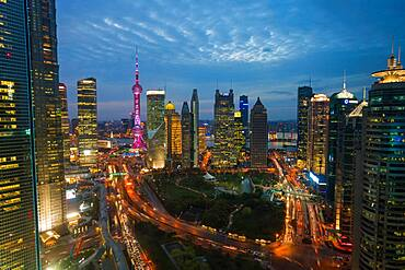 Skyline of the Pudong Financial district at dusk, Shanghai, China, China