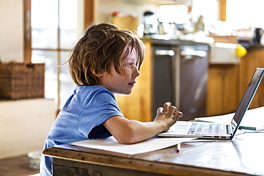Young boy using his laptop computer at home