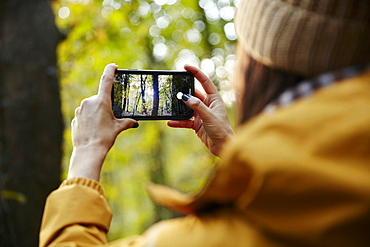 Woman holding up smart phone taking photograph of trees