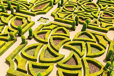 Formal gardens, Chateau of Villandry, Indre et Loire, Loire Valley, France