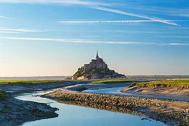 The historic citadel and abbey church of Le Mont Saint Michel in Normandy