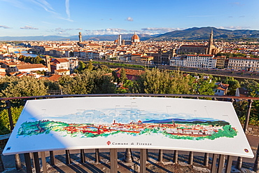 Tourist map of Florence with the city in the background, Tuscany, Italy