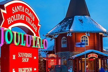 Santa Claus village at dusk, Rovaniemi, Finland
