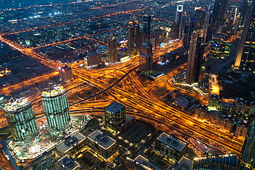 View from Burj Khalifa at dusk, Dubai, United Arab Emirates, UAE