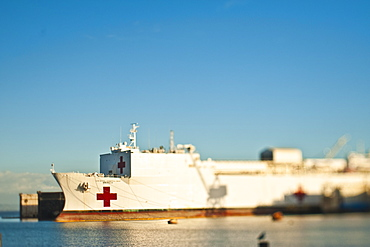 Red cross ship on ocean