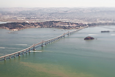 A road bridge and coastline of California