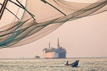 Fishing boat and Chinese Fishing nets, Fort Kochi, Cochin
