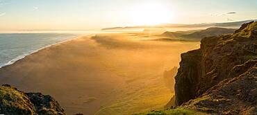 View at sunset from Dyrholaey Peninsula, near Vik, South Iceland , Polar Regions