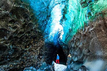 Glacial Ice Cave, Svinafellsjokull glacier, Skaftafell National Park, Iceland